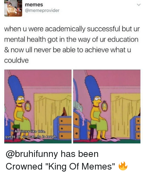 "Memes, Guess, and Never: memes  @memeprovider  when u were academically successful but ur  mental health got in the way of ur education  & now ull never be able to achieve what u  couldve  t  t i m e s  like  this  guess al youtcan do is laugh @bruhifunny has been Crowned ""King Of Memes"" 🔥"