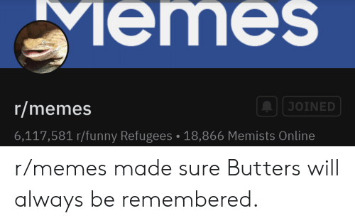 Funny, Memes, and Online: Memes  r/memes  JOINED  6,117,581 r/funny Refugees 18,866 Memists Online r/memes made sure Butters will always be remembered.