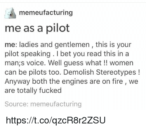Fire, I Bet, and Memes: memeufacturing  me as a pilot  me: ladies and gentlemen , this is your  pilot speaking . I bet you read this ina  man;s voice. Well guess what!! women  can be pilots too. Demolish Stereotypes!  Anyway both the engines are on fire, we  are totally fucked  Source: memeufacturing https://t.co/qzcR8r2ZSU
