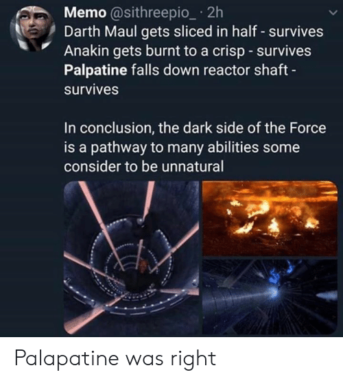 Star Wars, Darth Maul, and Dark: Memo @sithreepio_ 2h  Darth Maul gets sliced in half - survives  Anakin gets burnt to a crisp survives  Palpatine falls down reactor shaft  survives  In conclusion, the dark side of the Force  is a pathway to many abilities some  consider to be unnatural Palapatine was right