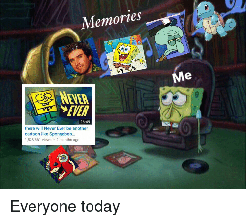 SpongeBob, Cartoon, and Today: Memories  Me  NEVER  EVER  26:49  there will Never Ever be another  cartoon like Spongebob..  1,828,661 views 2 months ago Everyone today