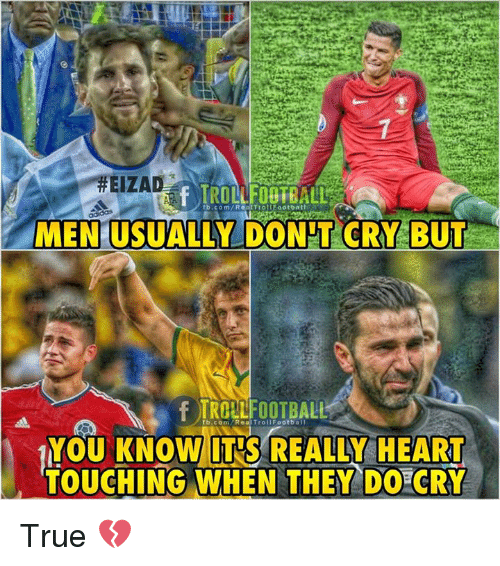 Memes, True, and Heart: MEN USUALLYDONTCRY.BUT  YOU KNOW IT'S REALLY HEART  TOUCHING WHEN THEY DO CRY True 💔
