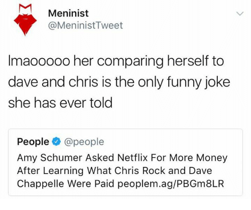 Amy Schumer, Chris Rock, and Funny: Meninist  @MeninistTweet  Imaooo00 her comparing herself to  dave and chris is the only funny joke  she has ever told  People@people  Amy Schumer Asked Netflix For More Money  After Learning What Chris Rock and Dave  Chappelle Were Paid peoplem.ag/PBGm8LR