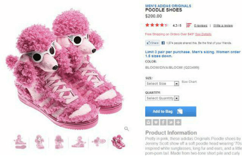low priced f2f43 ab5ca Adidas, Bailey Jay, and Head  MENS ADIDAS ORIGINALS POODLE SHOES  200.00  Free Shipping