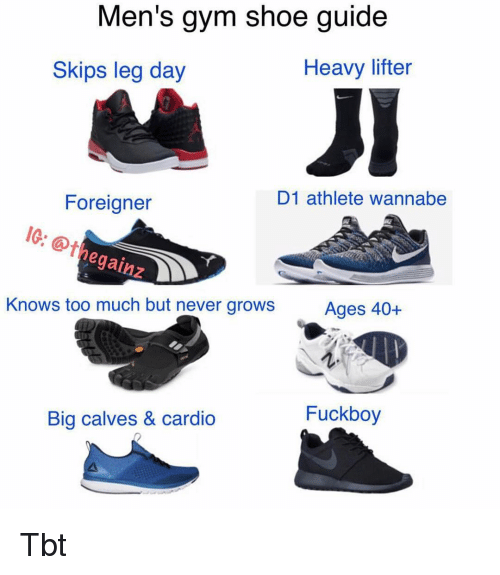 Fuckboy, Gym, and Memes: Men's gym shoe guide  Heavy lifter  Skips leg day  D1 athlete wannabe  Foreigner  IG:  @thegainz  gainz  Knows too much but never growsAges 40-+  Fuckboy  Big calves & cardio Tbt