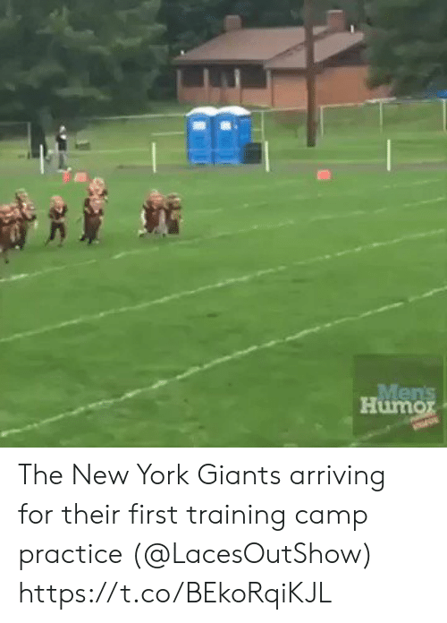 Football, New York, and New York Giants: Mens  Humor The New York Giants arriving for their first training camp practice (@LacesOutShow)  https://t.co/BEkoRqiKJL