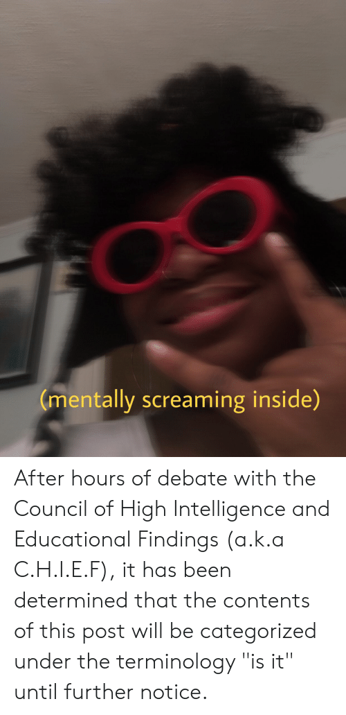 """Been, Debate, and Intelligence: (mentally screaming inside) After hours of debate with the Council of High Intelligence and Educational Findings (a.k.a C.H.I.E.F), it has been determined that the contents of this post will be categorized under the terminology """"is it"""" until further notice."""