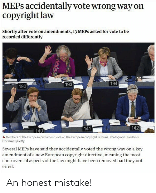 MEPs Accidentally Vote Wrong Way on Copyright Law Shortly