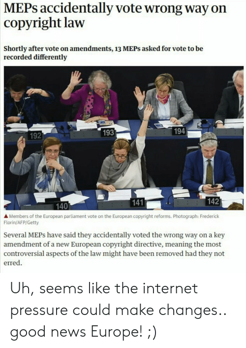 MEPs Accidentally Vote Wrong Way on Copyright Law Shortly After Vote