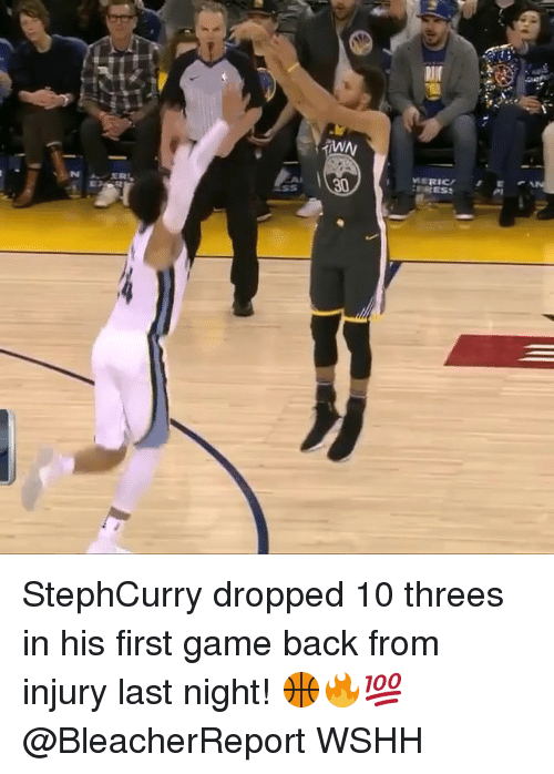 Memes, Wshh, and Game: MERICEA  30 StephCurry dropped 10 threes in his first game back from injury last night! 🏀🔥💯 @BleacherReport WSHH