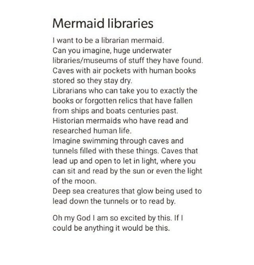 Mermaid Libraries I Want To Be A Librarian Mermaid Can You Imagine