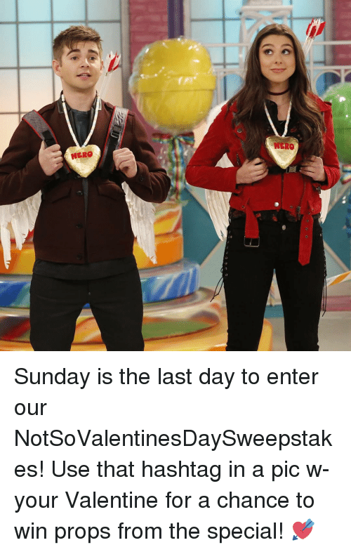 Memes, 🤖, and The Specials: MERO Sunday is the last day to enter our NotSoValentinesDaySweepstakes! Use that hashtag in a pic w- your Valentine for a chance to win props from the special! 💘