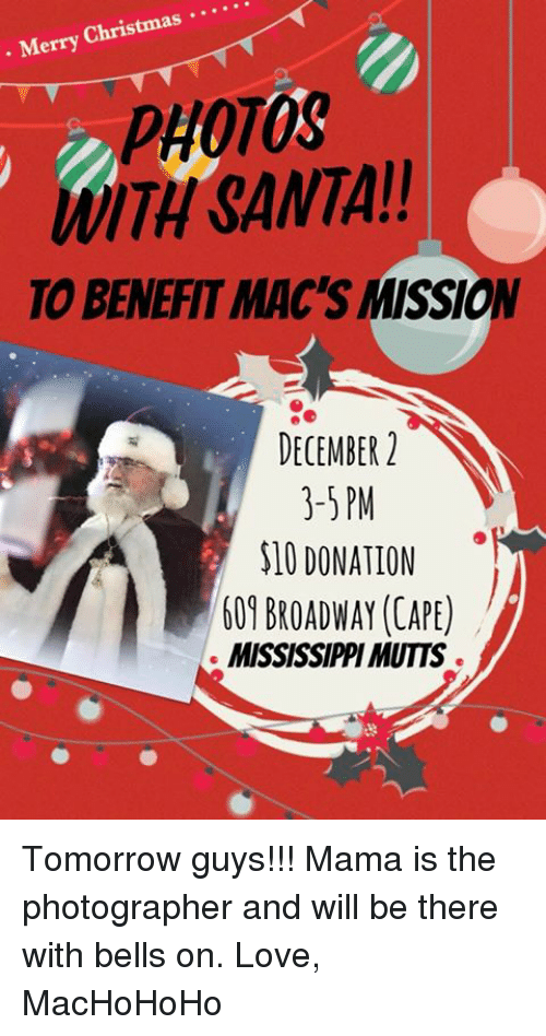 Merry Christmas PHOTOS WITH SANTA TO BENEFIT MAC\'S MISSION DECEMBER ...