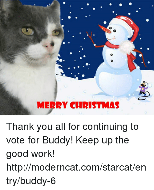 Merry Christmas Thank You All For Continuing To Vote For Buddy Keep