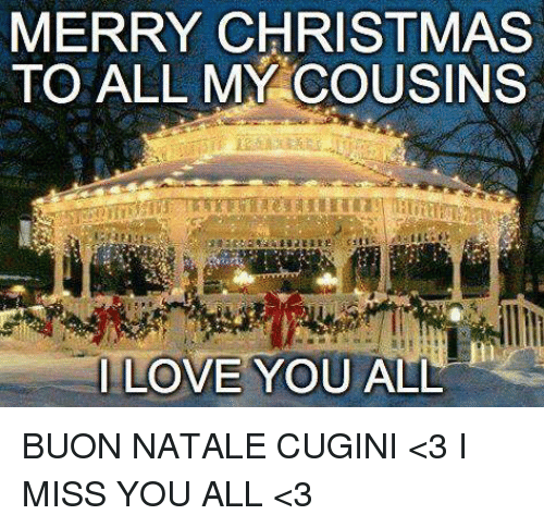 Buon Natale Cugini.Merry Christmas To All My Cousins Love You All Buon Natale Cugini 3 I Miss You All 3 Meme On Me Me