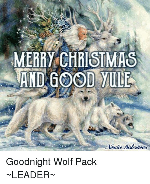 Christmas Wolf.Merry Christmas Wand Good Vine Goodnight Wolf Pack Leader