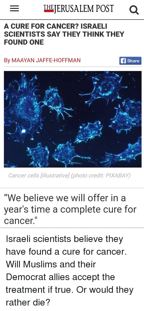 MERUSALEM POST THE a CURE FOR CANCER? ISRAEL SCIENTISTS SAY