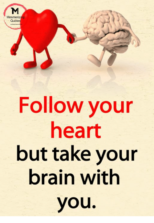 Mesmeriz Quote Follow Your Heart But Take Your Brain With You Meme