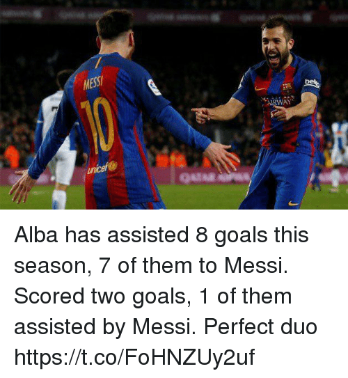 Goals, Soccer, and Messi: MESS  AIRWAY  uncef Alba has assisted 8 goals this season, 7 of them to Messi.   Scored two goals, 1 of them assisted by Messi.   Perfect duo https://t.co/FoHNZUy2uf