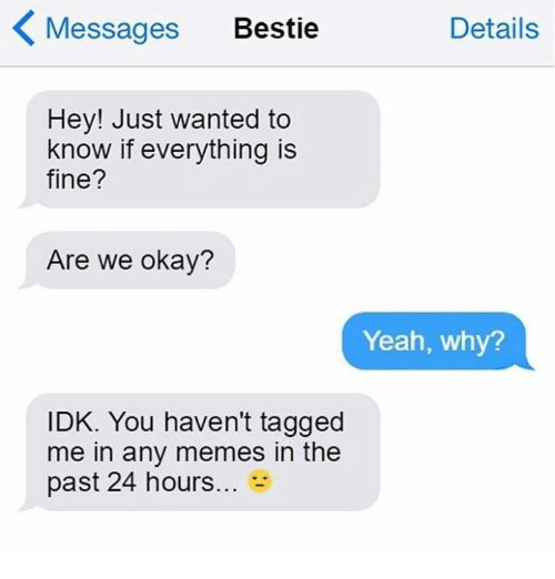 Memes, Yeah, and Okay: Messages Bestie  Details  Hey! Just wanted to  know if everything is  fine?  Are we okay?  Yeah, why?  IDK. You haven't tagged  me in any memes in the  past 24 hours...-