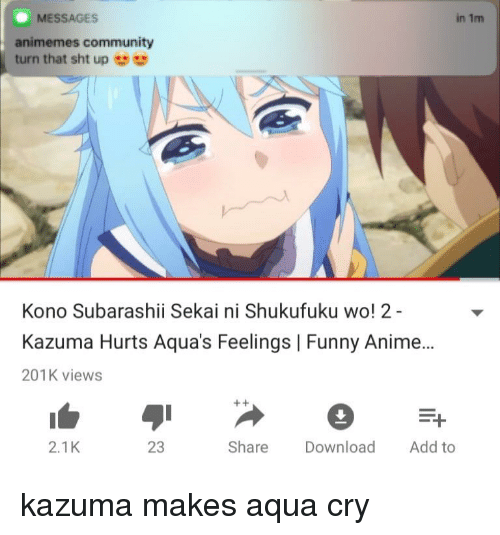 Messages In 1m Animemes Community Turn That Sht Up Kono Subarashii