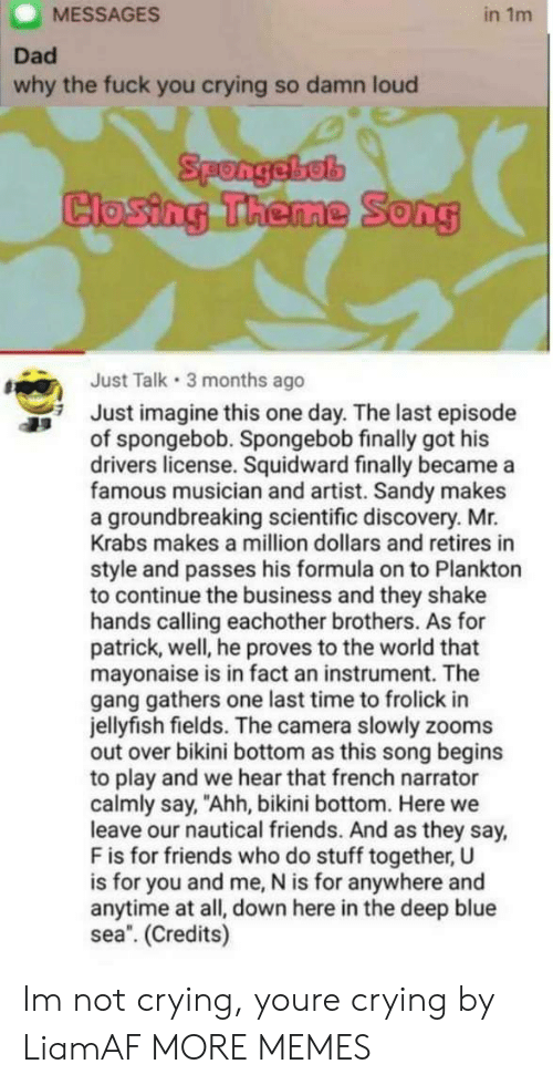 "Crying, Dad, and Dank: MESSAGES  in 1m  Dad  why the fuck you crying so damn loud  Spongebel  Closing Theme Song  Just Talk 3 months ago  Just imagine this one day. The last episode  of spongebob. Spongebob finally got his  drivers license. Squidward finally became a  famous musician and artist. Sandy makes  a groundbreaking scientific discovery. Mr.  Krabs makes a million dollars and retires in  style and passes his formula on to Plankton  to continue the business and they shake  hands calling eachother brothers. As for  patrick, well, he proves to the world that  mayonaise is in fact an instrument. The  gang gathers one last time to frolick in  jellyfish fields. The camera slowly zooms  out over bikini bottom as this song begins  to play and we hear that french narrator  calmly say, ""Ahh, bikini bottom. Here we  leave our nautical friends. And as they say,  F is for friends who do stuff together, U  is for you and me, N is for anywhere and  anytime at all, down here in the deep blue  sea. (Credits) Im not crying, youre crying by LiamAF MORE MEMES"