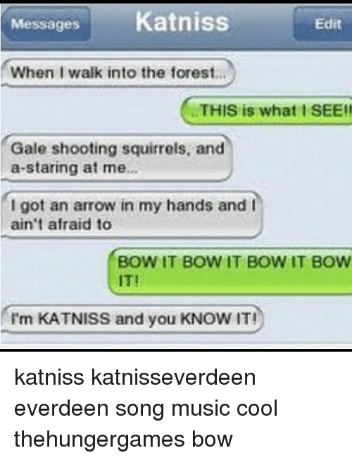 Memes, Music, and Arrow: Messages Katniss  Edit  When I walk into the forest  THIS is what I SEE!!  Gale shooting squirrels, and  a staring at me.  I got an arrow in my hands and I  ain't afraid to  BOW IT BOW IT BOW IT BOW  I'm KATNISS and you KNOW IT! katniss katnisseverdeen everdeen song music cool thehungergames bow