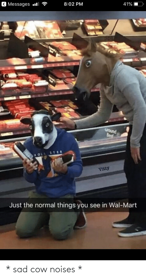 Beef, Wal Mart, and Sad: Messages l  8:02 PM  41%  Ground  Beef  MOLL  Vitty  Just the normal things you see in Wal-Mart * sad cow noises *
