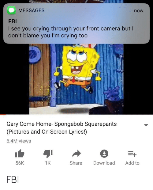 Crying, Fbi, and SpongeBob: MESSAGES  now  FBI  I see you crying through your front camera but l  don't blame you I'm crying too  Gary Come Home- Spongebob Squarepants  (Pictures and On Screen Lyrics!)  6.4M views  56K  1K  Share Download Add to FBI