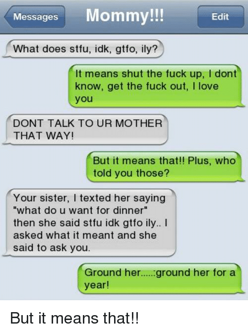 Stfu meaning in text
