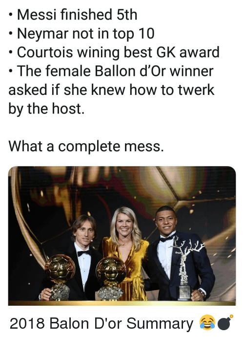 Memes, Neymar, and Twerk: .Messi finished 5th  Neymar not in top 10  Courtois wining best GK award  . The female Ballon d'Or winner  asked if she knew how to twerk  by the host.  What a complete mess. 2018 Balon D'or Summary 😂💣