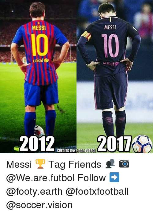 Friends, Memes, and Soccer: MESSI  MESSI  10  unicef  2012  CREDITS AWE ARE FUTBOL Messi 🏆 Tag Friends 👥 📷 @We.are.futbol Follow ➡ @footy.earth @footxfootball @soccer.vision