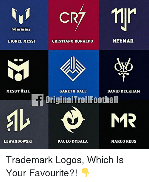 Cristiano Ronaldo, David Beckham, and Football: MESSi  NEYMAR  LIONEL MESSI  CRISTIANO RONALDO  MESUT OZIL  GARETH BALE  DAVID BECKHAM  f OriginalTroll Football  AL MR  MARCO REUS  LEWANDOWSKI  PAULO DYBALA Trademark Logos, Which Is Your Favourite?! 👇