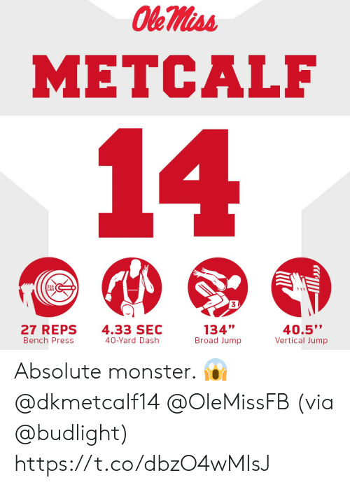 "Memes, Monster, and 🤖: METCALF  225  LBS  3  27 REPS  Bench Press  4.33 SEC  40-Yard Dash  134""  Broad Jump  40.5""  Vertical Jump Absolute monster. 😱@dkmetcalf14 @OleMissFB   (via @budlight) https://t.co/dbzO4wMIsJ"