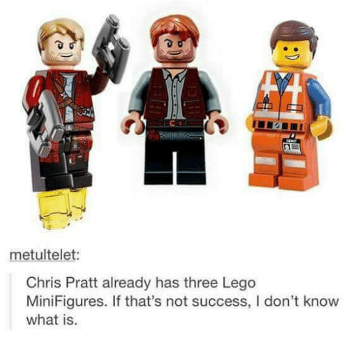 Chris Pratt, Lego, and Memes: metultelet:  Chris Pratt already has three Lego  MiniFigures. If that's not success, I don't know  what is.