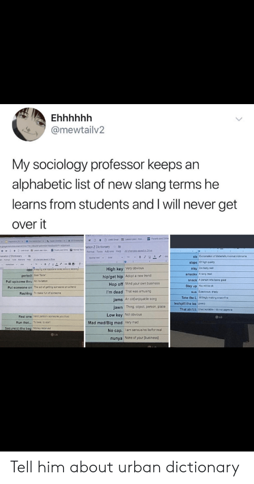 """Low Key, Money, and Run: @mewtailv2  My sociology professor keeps an  alphabetic list of new slang terms he  learns from students and I will never get  over it  Poveny and  ation Z Dictionary  ools Add-ons Help  slaps Ofhigh quality  slay Do realy we  High key Very obvious  hip/get hip Adopt a new trend  smacks A tasty treat  periodt 5ee 'tacts""""  Pull up/come thru An invitation  snack  A person who looks good  Hop off Mind your own business  I'm dead That was amusing  Stay up You will be ok  The act of geng scmeane on a trend  Put someone on  sus Suspicious shady  Take the L Wilingly making a sacrifce  Rashing To make fun of someone  jams An old enjoyable song  jawn Thing, object, person, place  tea/spill the tea cossip  That ain't it Unacceptable- I do not approve  Low key Not obvious  Real one Vaid person someone you trus  Run that..  To take to start  Mad mad/Big mad Very mad  Secure(d) the bag Money rece ved  No cap. I am serious/no lierfor real  LO  None of your [business)  nunya Tell him about urban dictionary"""