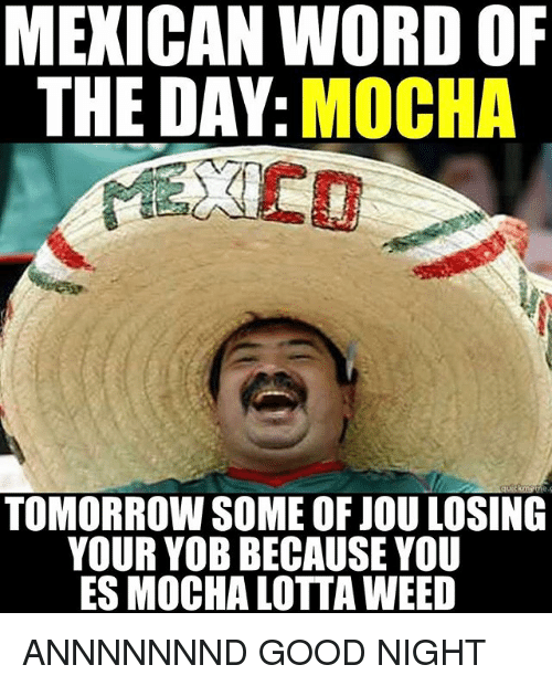Memes, Weed, and Good: MEXICAN WORD OF  THE DAY  MOCHA  TOMORROW SOME OF JOU LOSING  YOUR YOB BECAUSE YOU  ES MOCHA LOTTA WEED ANNNNNNND GOOD NIGHT