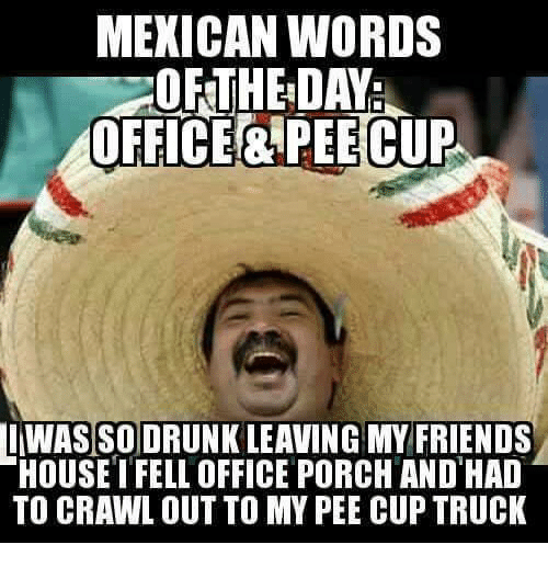 mexican words the day office pee cup was so drunk 6138300 mexican words the day office pee cup was so drunk leaving my