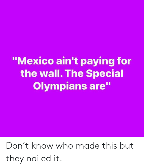 """Memes, Mexico, and 🤖: """"Mexico ain't paying for  the wall. The Special  Olympians are"""" Don't know who made this but they nailed it."""