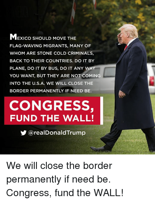 Mexico, Cold, and Back: MExico SHOULD MOVE THE  FLAG-WAVING MIGRANTS, MANY OF  WHOM ARE STONE COLD CRIMINALS,  BACK TO THEIR COUNTRIES. DO IT BY  PLANE, DO IT BY BUS, DO IT ANY WA  YOU WANT, BUT THEY ARE NOT COMING  INTO THE U.S.A. wE WILL CLOSE THE  BORDER PERMANENTLY IF NEED BE.  CONGRESS,  FUND THE WALL!  步@realDonaldTrump We will close the border permanently if need be. Congress, fund the WALL!