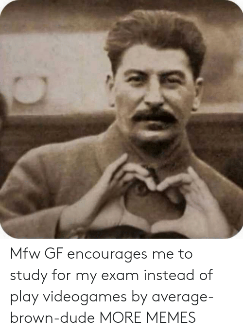 Dank, Dude, and Memes: Mfw GF encourages me to study for my exam instead of play videogames by average-brown-dude MORE MEMES