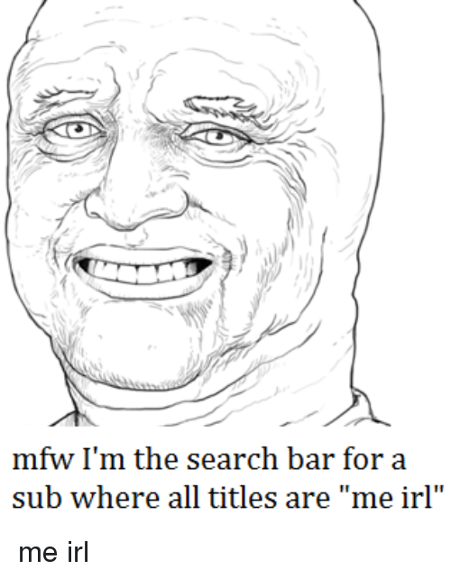 "Irl: mfw I'm the search bar for a  sub where all titles are ""me irl me irl"