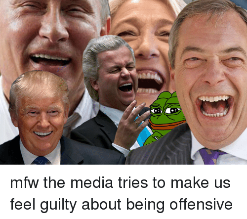 Dank, Mfw, and 🤖: mfw the media tries to make us feel guilty about being offensive