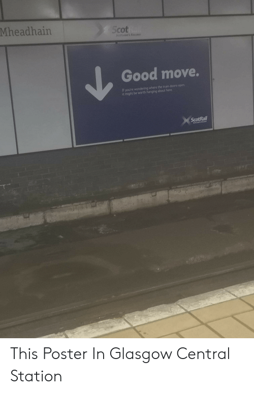 Good, Train, and Doors: Mheadhain  Scot  Good move.  If youre wondering where the train doors open,  it might be worth hanging about here  ScotRail This Poster In Glasgow Central Station