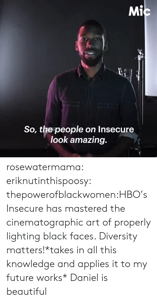 Beautiful, Future, and Hbo: Mi  So, the people on Insecure  look amazing. rosewatermama:  eriknutinthispoosy:  thepowerofblackwomen:HBO's Insecure has mastered the cinematographic art of properly lighting black faces. Diversity matters!*takes in all this knowledge and applies it to my future works*  Daniel is beautiful