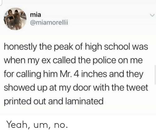 Police, School, and Yeah: mia  @miamorelli  honestly the peak of high school  when my ex called the police on me  for calling him Mr. 4 inches and they  showed up at my door with the tweet  printed out and laminated Yeah, um, no.