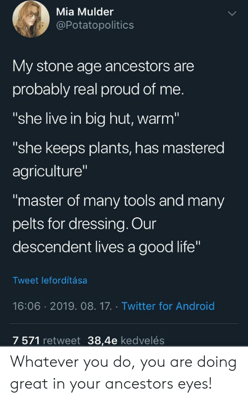 """Android, Life, and Twitter: Mia Mulder  @Potatopolitics  My stone age ancestors are  probably real proud of me.  """"she live in big hut, warm""""  """"she keeps plants, has mastered  agriculture""""  """"master of many tools and many  pelts for dressing. Our  descendent lives a good life""""  Tweet lefordítása  16:06 2019. 08.17. Twitter for Android  7 571 retweet 38,4e kedvelés Whatever you do, you are doing great in your ancestors eyes!"""