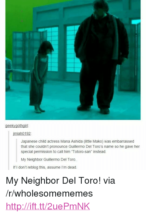 """Http, Japanese, and Guillermo Del Toro: miah0192  Japanese child actress Mana Ashida (little Mako) was embarrassed  that she couldn't pronounce Guillermo Del Toro's name so he gave her  special permission to call him """"Totoro-san instead.  My Neighbor Guillermo Del Toro.  If I don't reblog this, assume I'm dead. <p>My Neighbor Del Toro! via /r/wholesomememes <a href=""""http://ift.tt/2uePmNK"""">http://ift.tt/2uePmNK</a></p>"""