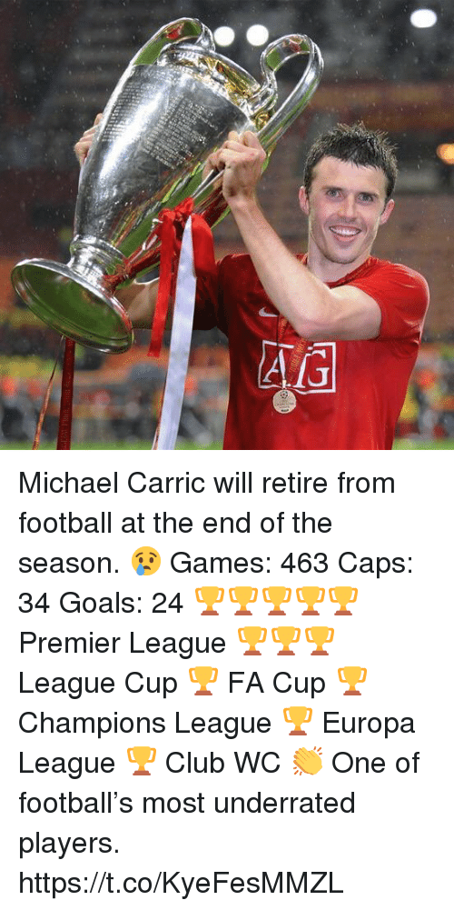 Club, Football, and Goals: Michael Carric will retire from football at the end of the season. 😢  Games: 463 Caps: 34 Goals: 24  🏆🏆🏆🏆🏆 Premier League 🏆🏆🏆 League Cup 🏆 FA Cup 🏆 Champions League 🏆 Europa League 🏆 Club WC  👏 One of football's most underrated players. https://t.co/KyeFesMMZL