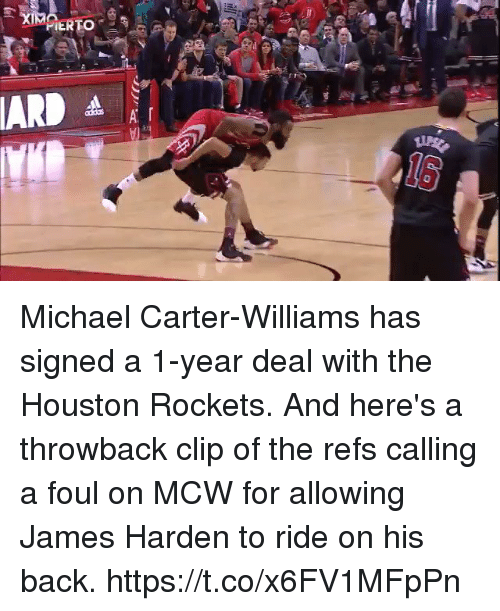 Sizzle: Michael Carter-Williams has signed a 1-year deal with the Houston Rockets. And here's a throwback clip of the refs calling a foul on MCW for allowing James Harden to ride on his back. https://t.co/x6FV1MFpPn